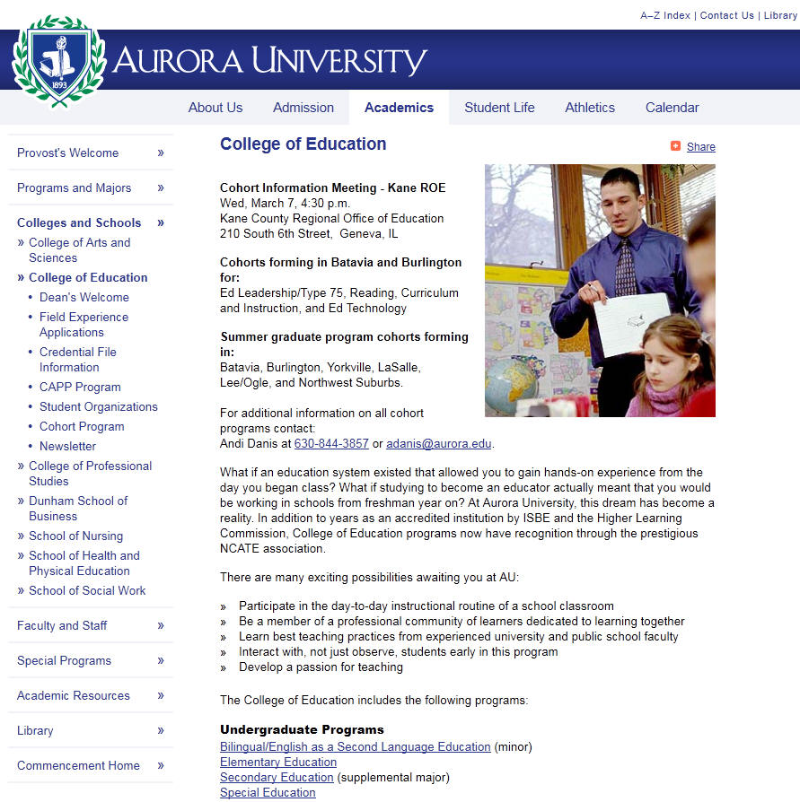 Aurora University College of Education