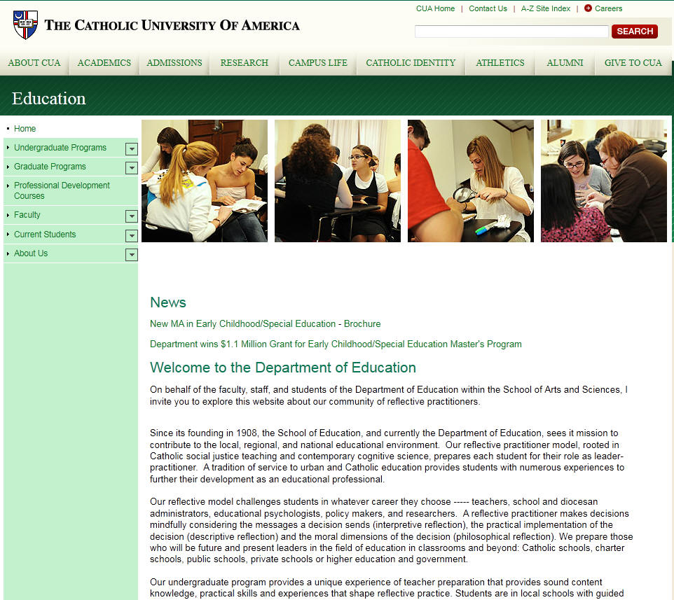 Catholic University of America Department of Education
