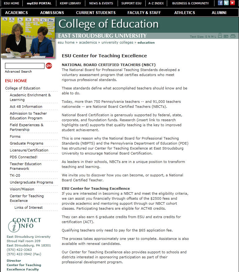 East Stroudsburg University of Pennsylvania Department of Education