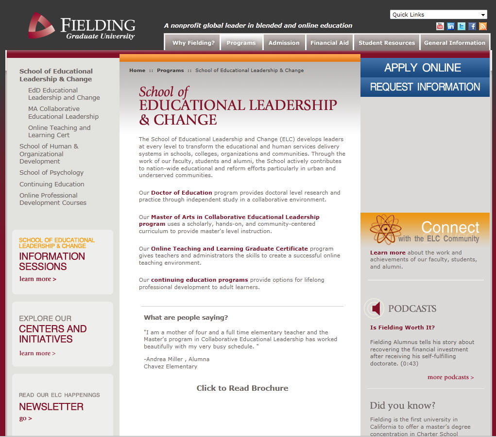 Fielding Graduate University School of Educational Leadership Change