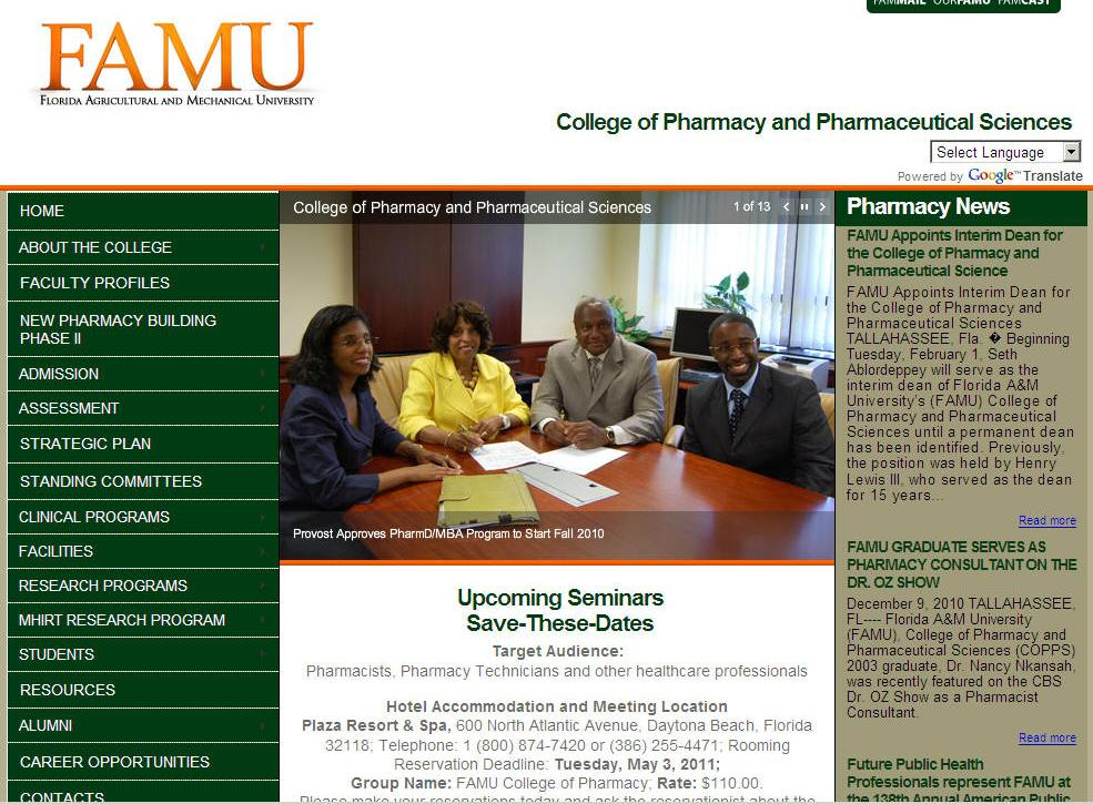 Florida University College of Pharmacy Pharmaceutical Sciences
