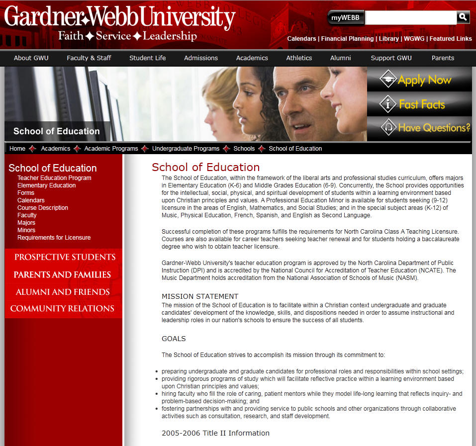 Gardner Webb University Education Department