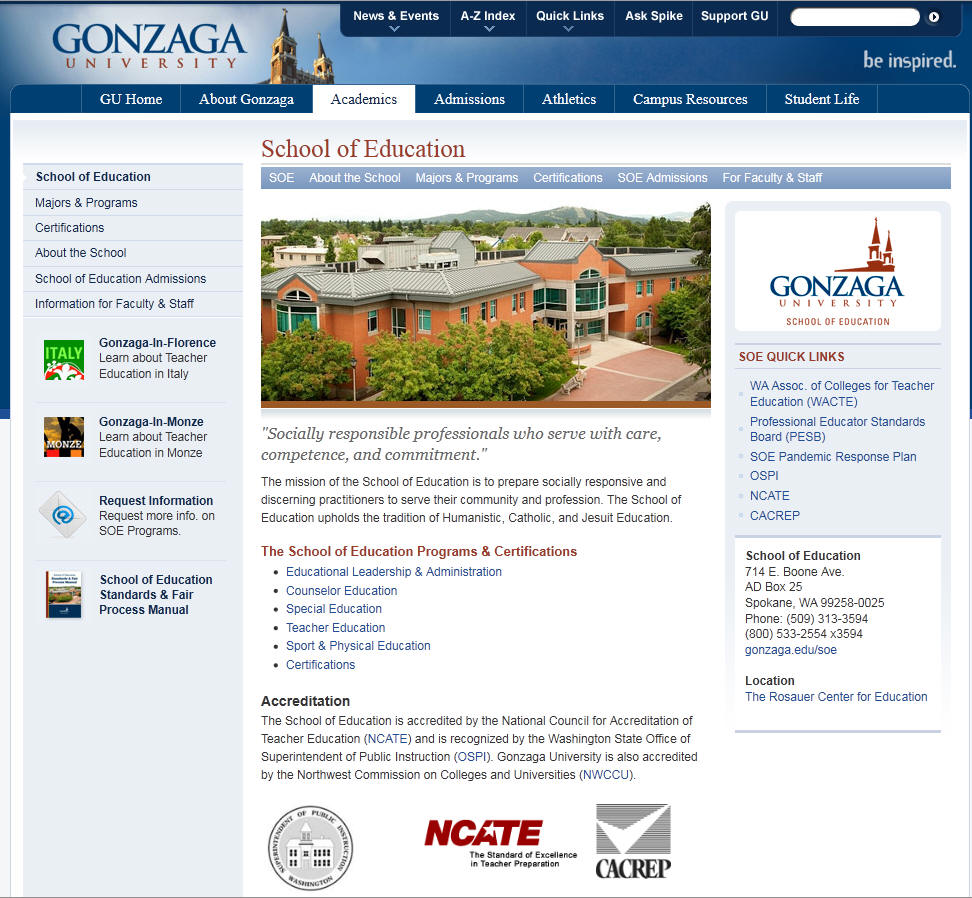 Gonzaga University School of Education