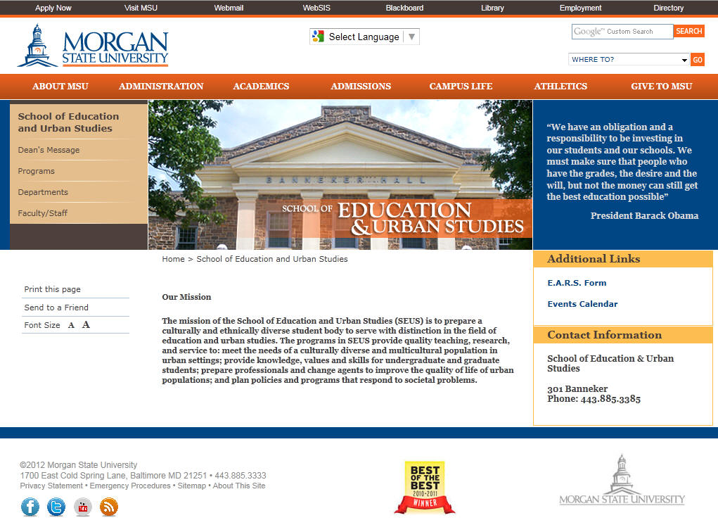 Morgan State University School of Education and Urban Studies