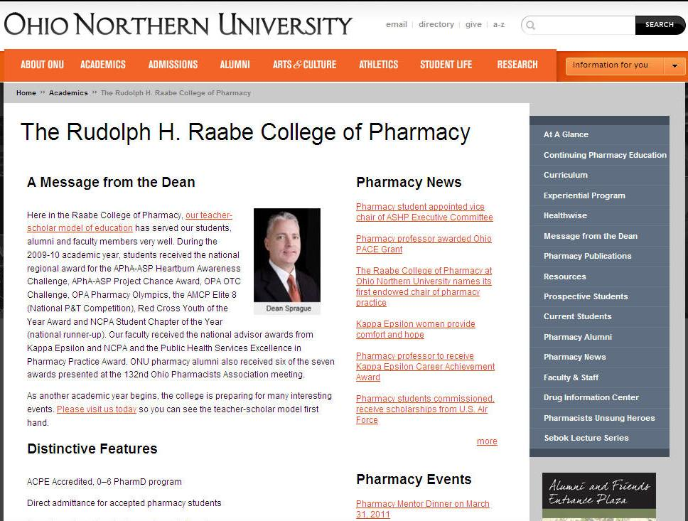 Ohio Northern University Rudolph H Raabe College of Pharmacy