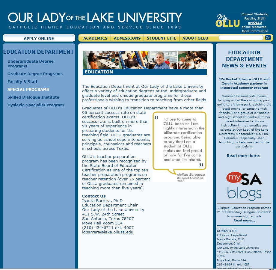 Our Lady of the Lake University Education Department