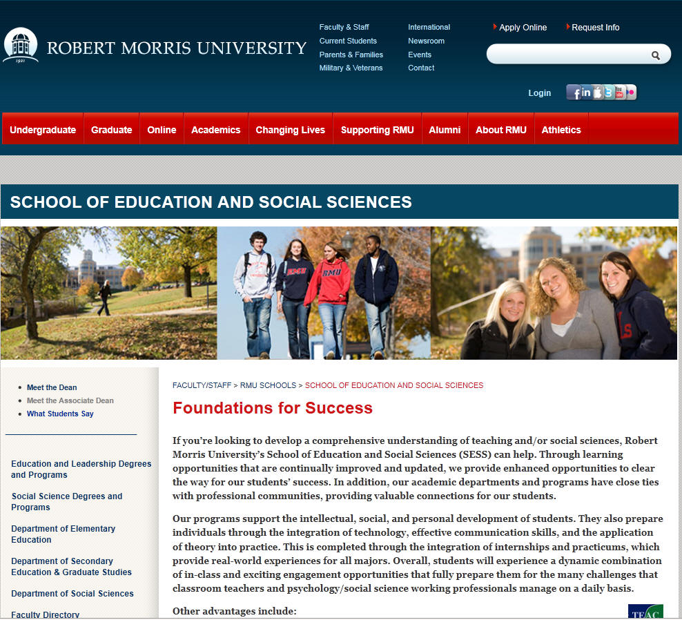 Robert Morris University School of Education and Social Sciences