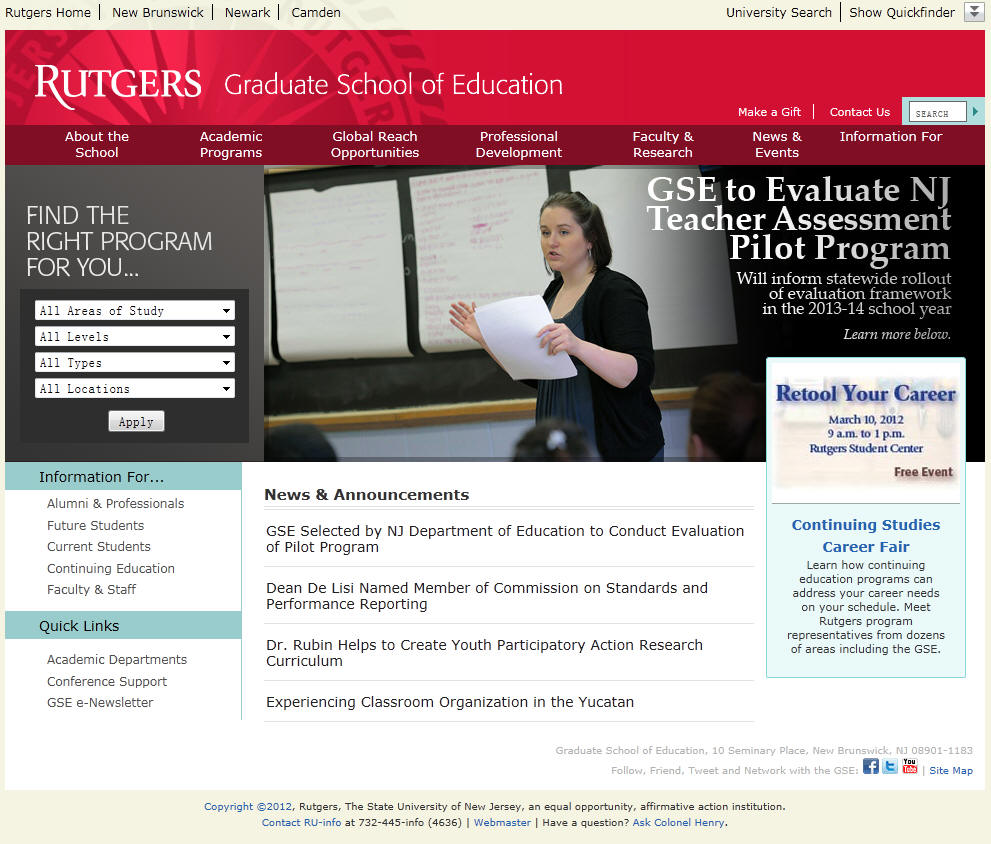 Rutgers the State University of New Jersey New Brunswick Graduate School of Education