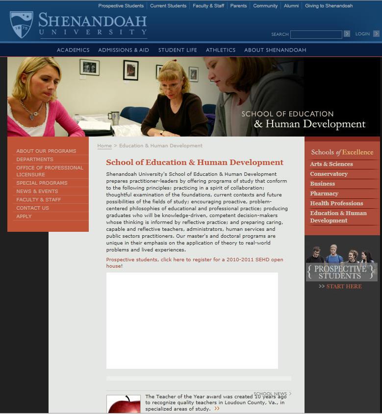 Shenandoah University School of Education Human Development