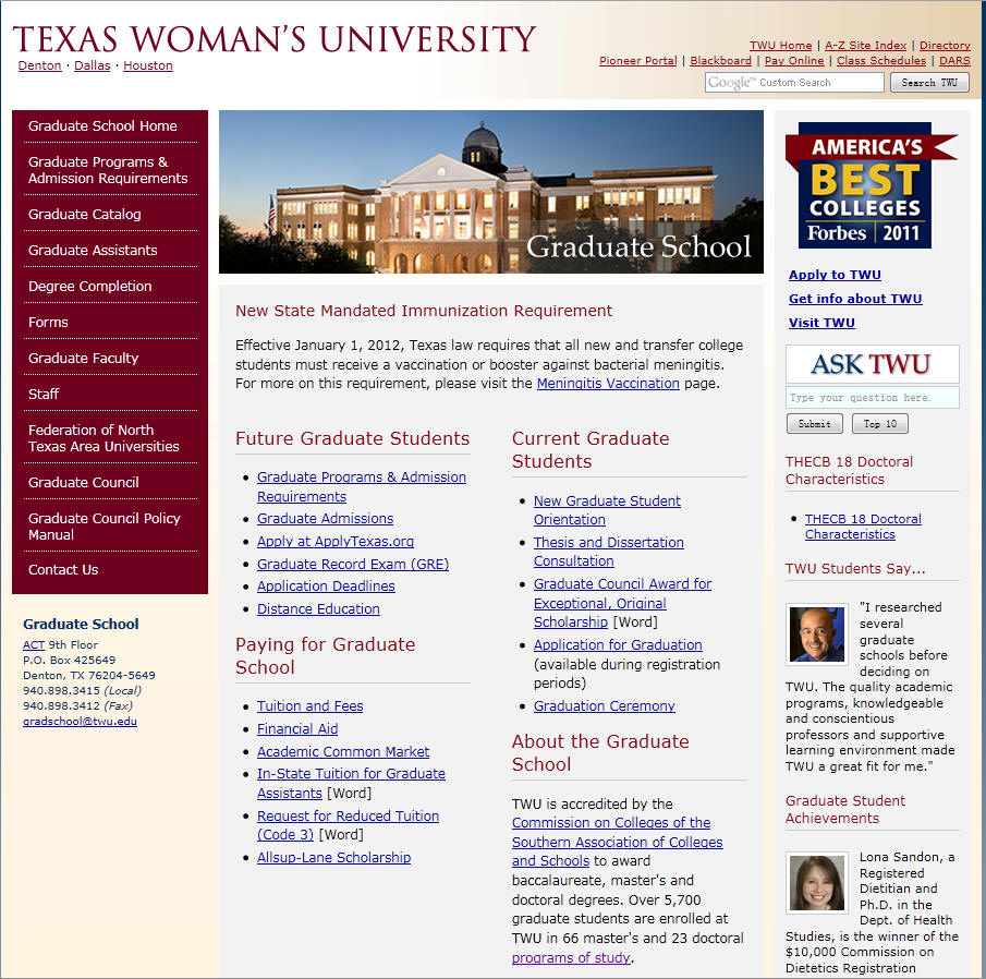 Texas Womans University Graduate School