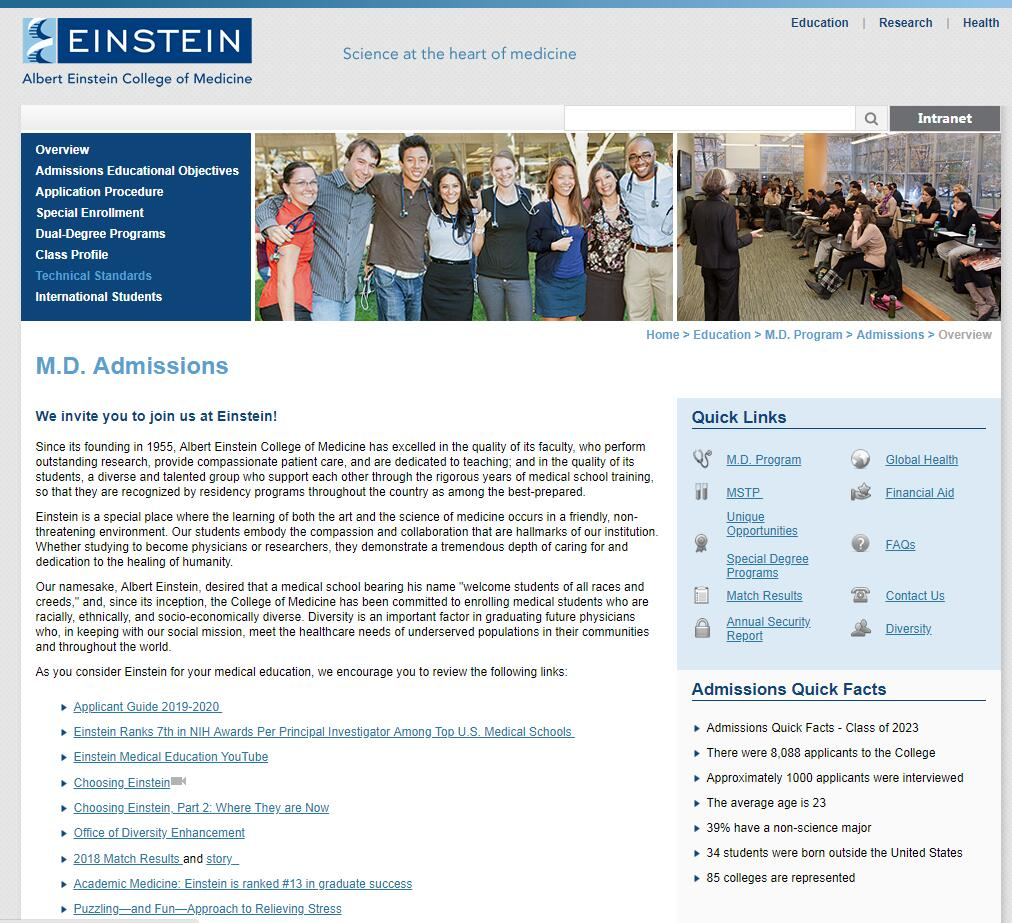 The Albert Einstein College of Medicine at Yeshiva University Admissions Statistics and Rankings