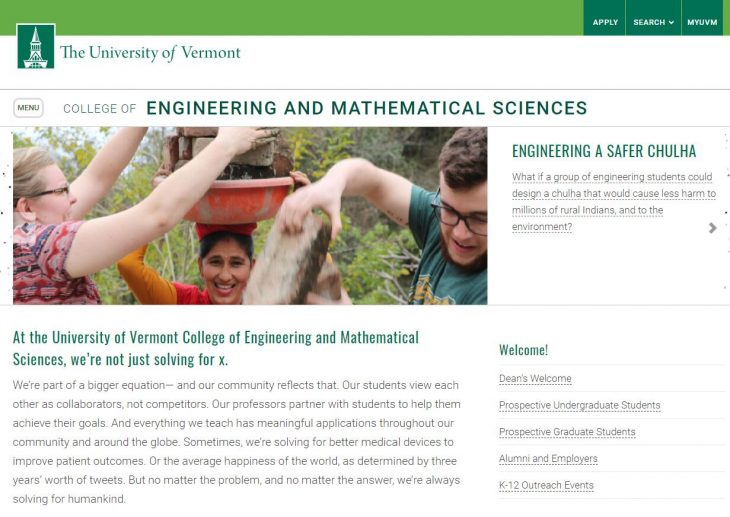 The College of Engineering and Mathematics Sciences at University of Vermont