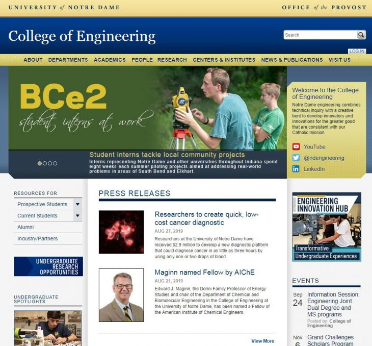 The College of Engineering at University of Notre Dame