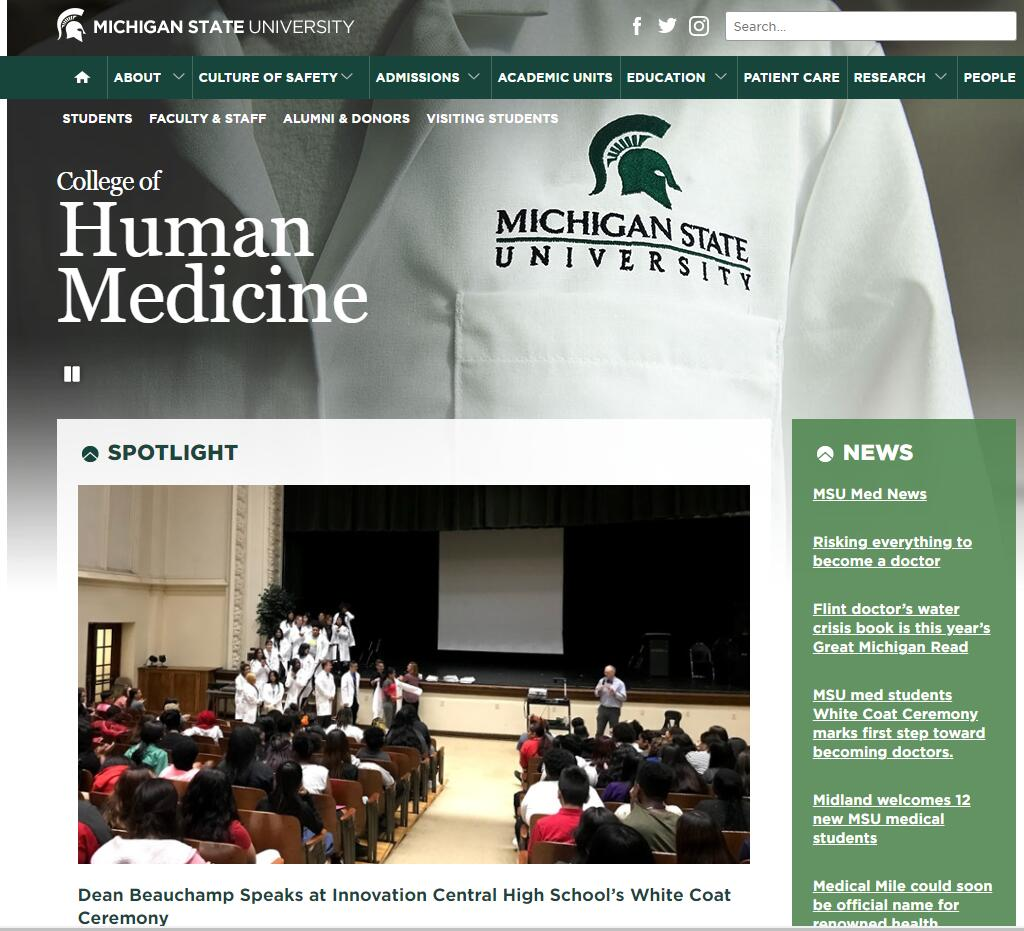 The College of Human Medicine at Michigan State University Admissions Statistics and Rankings