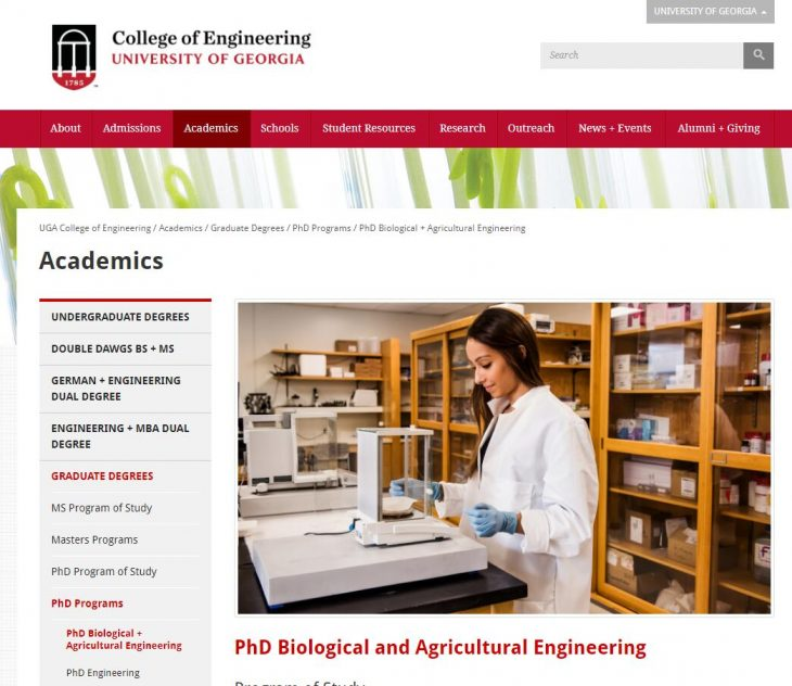 The Department of Biological and Agricultural Engineering at University of Georgia