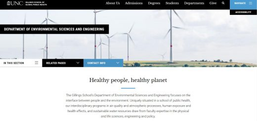 The Environmental Sciences and Engineering at University of North Carolina--Chapel Hill