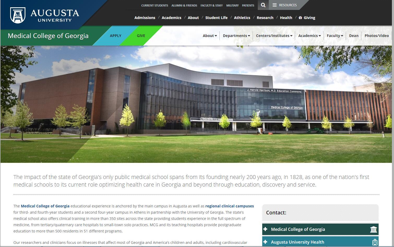The Medical College of Georgia at Georgia Health Sciences University