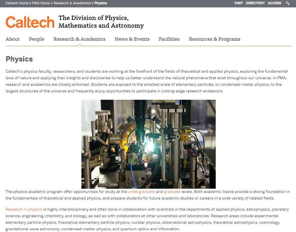 Top 10 Physics Schools