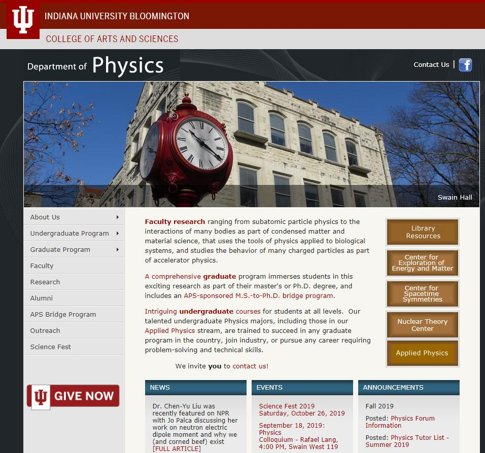 Top Physics Schools in Indiana