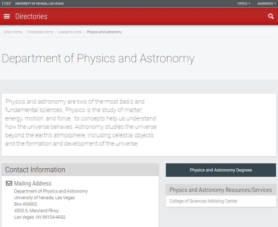 Top Physics Schools in Nevada