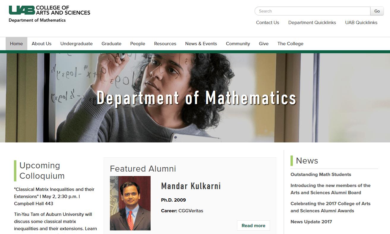 University of Alabama–Birmingham Department of Mathematics