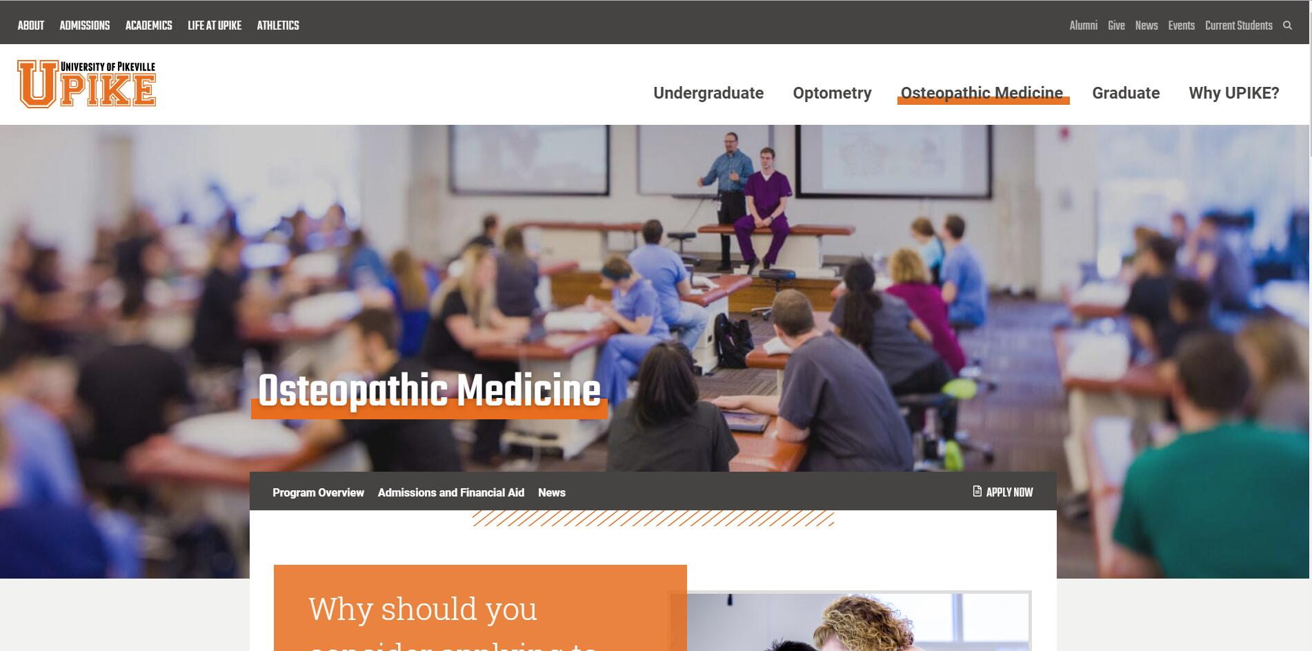 University of Pikeville Kentucky College of Osteopathic Medicine Admissions Statistics and Rankings