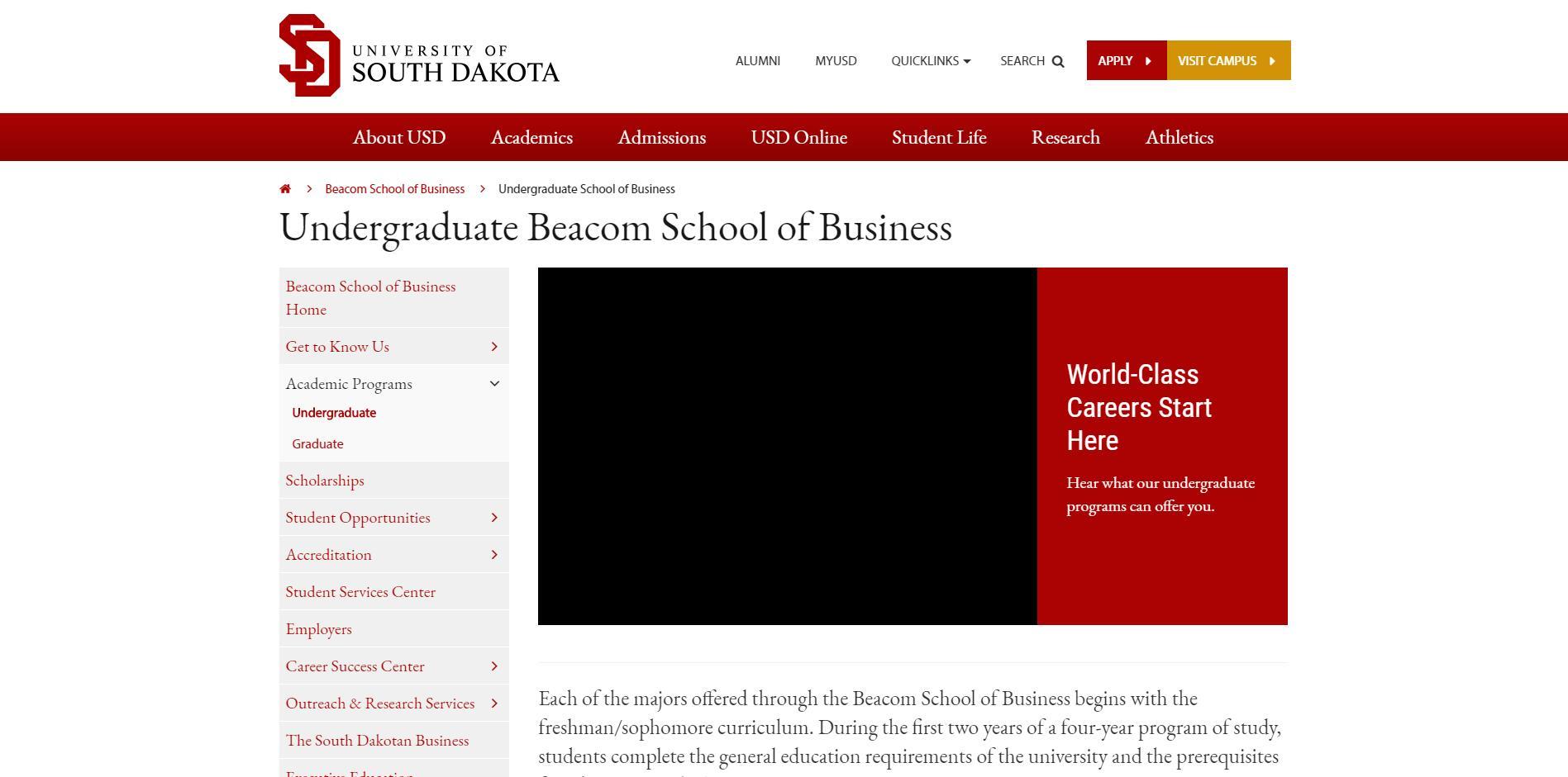 University of South Dakota Undergraduate Business