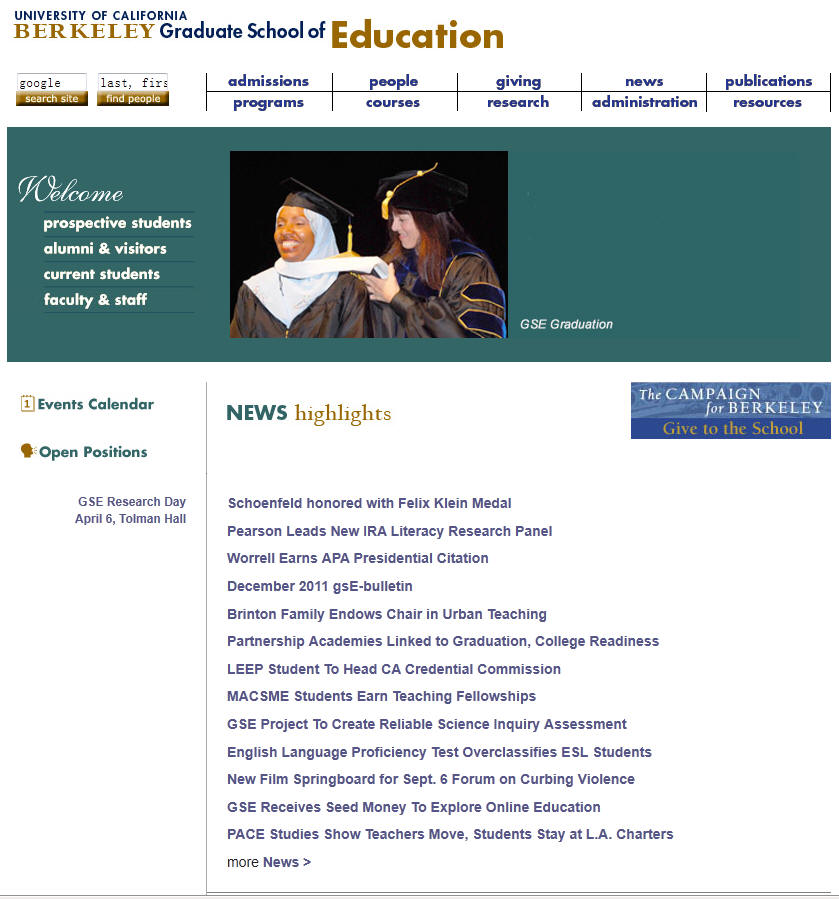 University of California Berkeley Graduate School of Education