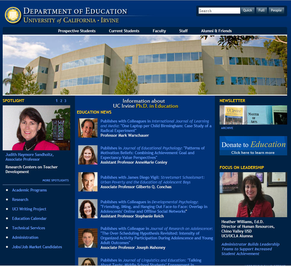 University of California Irvine Department of Education