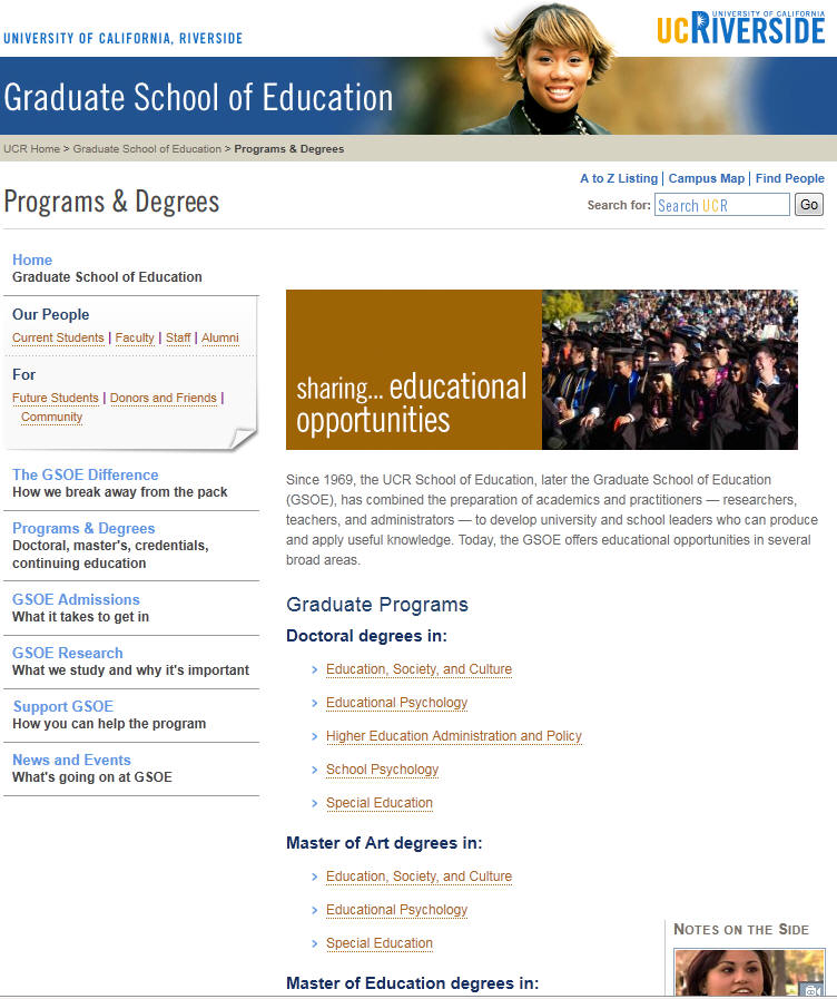 University of California Riverside Graduate School of Education