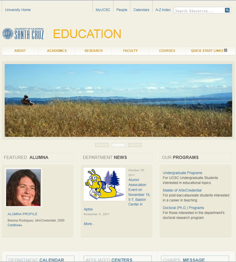 University of California Santa Cruz Education Department
