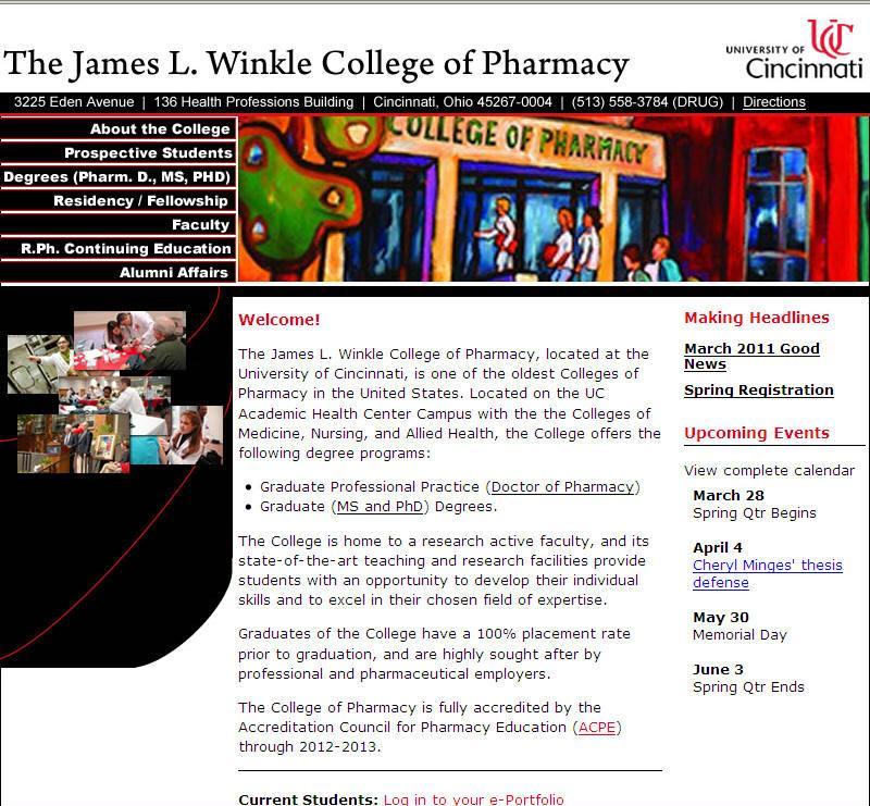 University of Cincinnati James L Winkle College of Pharmacy