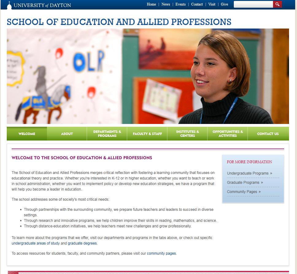 University of Dayton School of Education Allied Professions