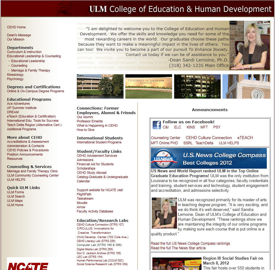 University of Louisiana Monroe College of Education Human Development