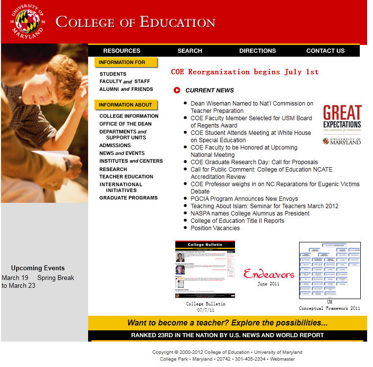 University of Maryland College Park College of Education
