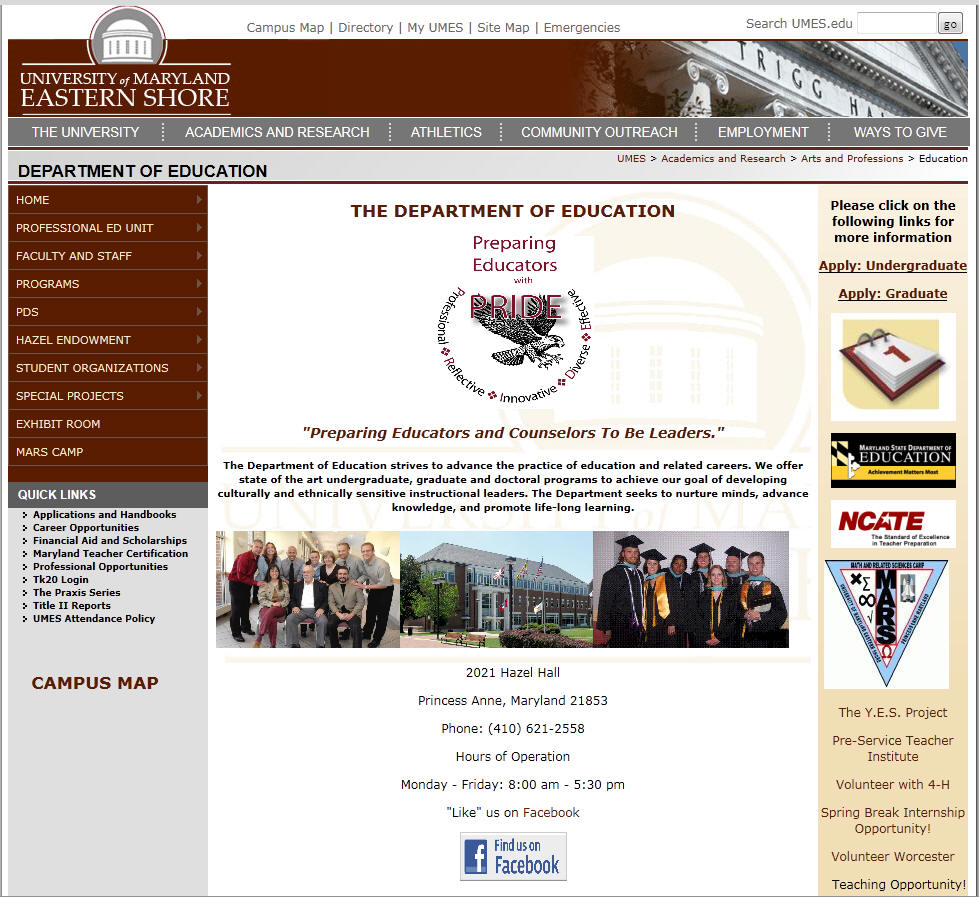 University of Maryland Eastern Shore Department of Education
