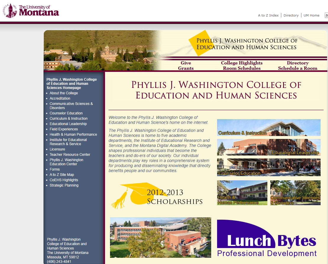 University of Montana Phyllis J Washington College of Education and Human Sciences