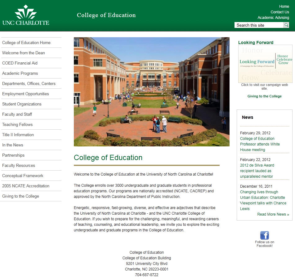 University of North Carolina Charlotte College of Education
