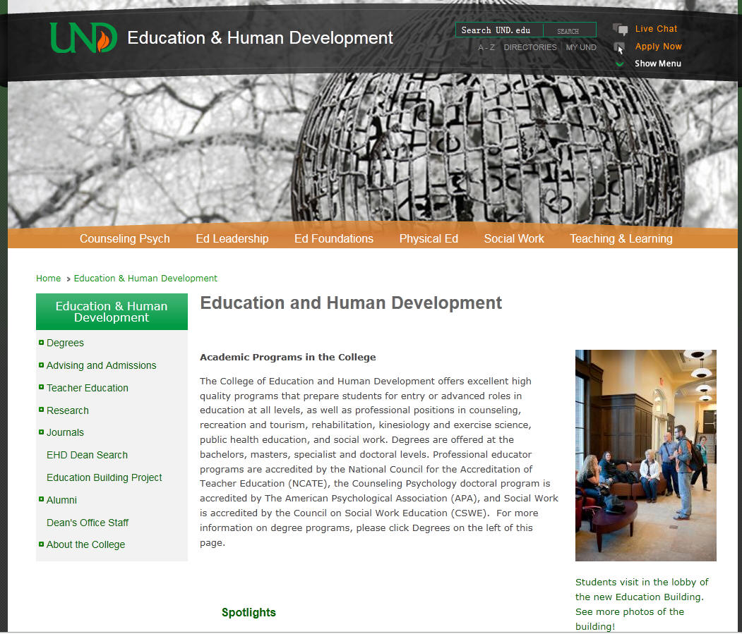 University of North Dakota College of Education and Human Development
