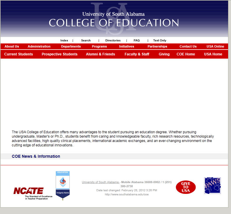 University of South Alabama College of Education