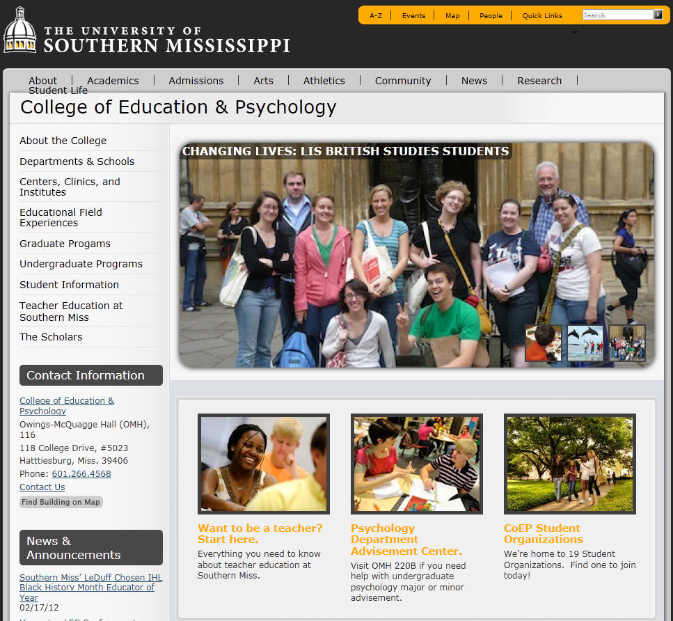 University of Southern Mississippi College of Education & Psychology