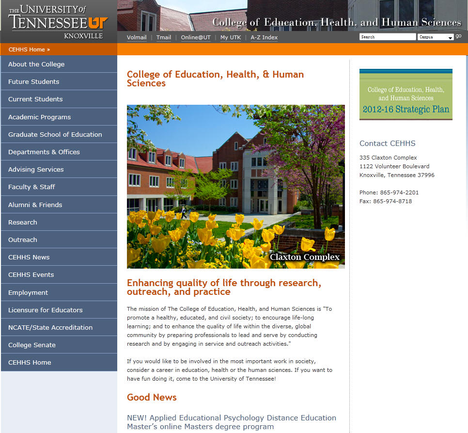 University of Tennessee Knoxville College of Education Health and Human Sciences