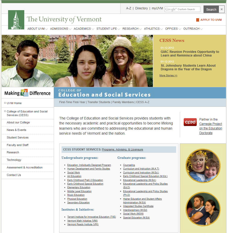 University of Vermont College of Education and Social Services