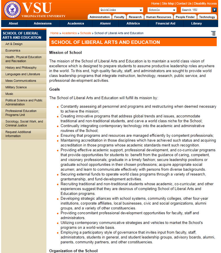 Virginia State University School of Liberal Arts and Education