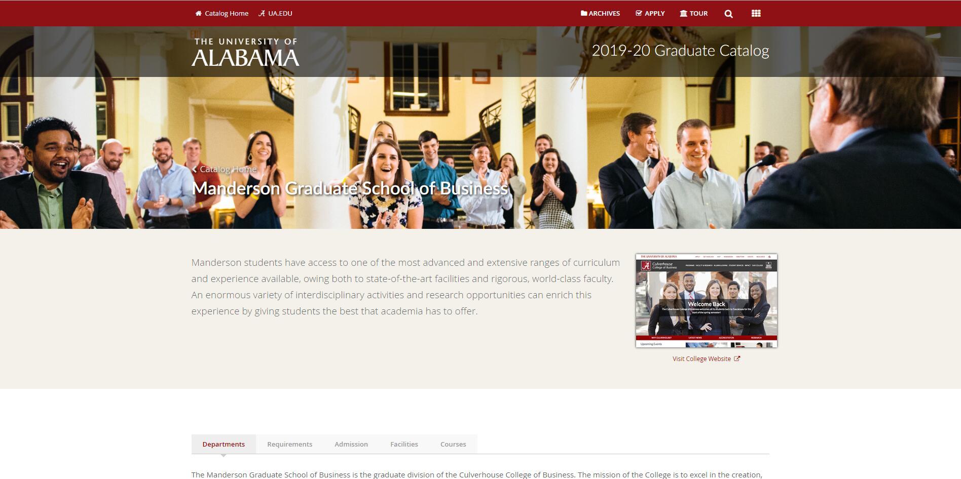 The Manderson Graduate School of Business at University of Alabama