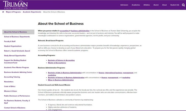 The School of Business at Truman State University