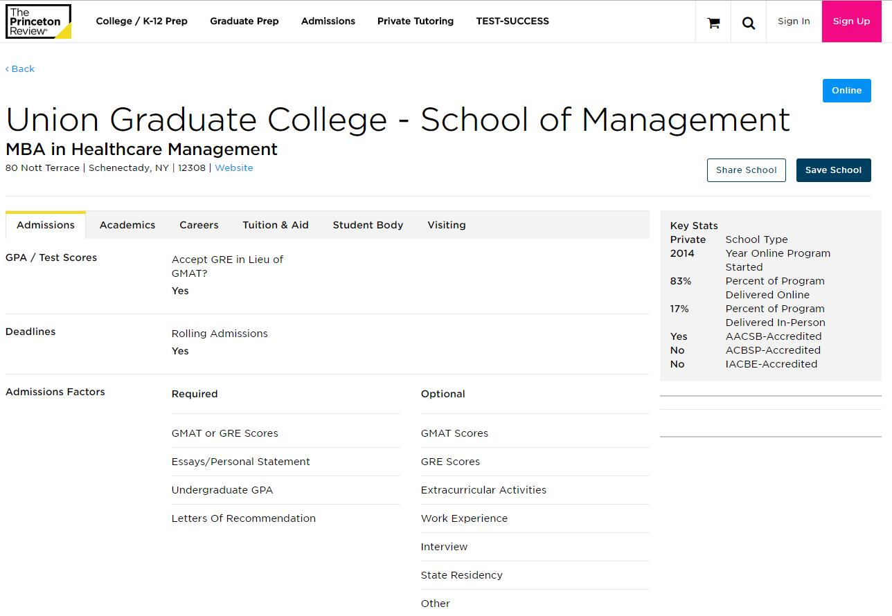 The School of Management at Union Graduate College