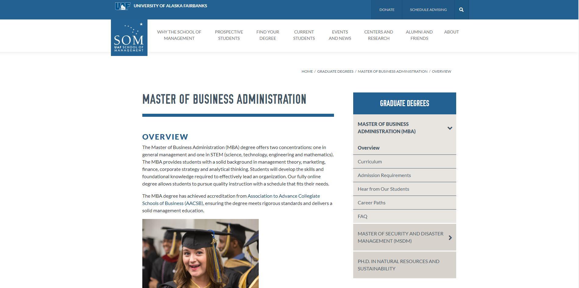 University of Alaska--Fairbanks Part Time MBA