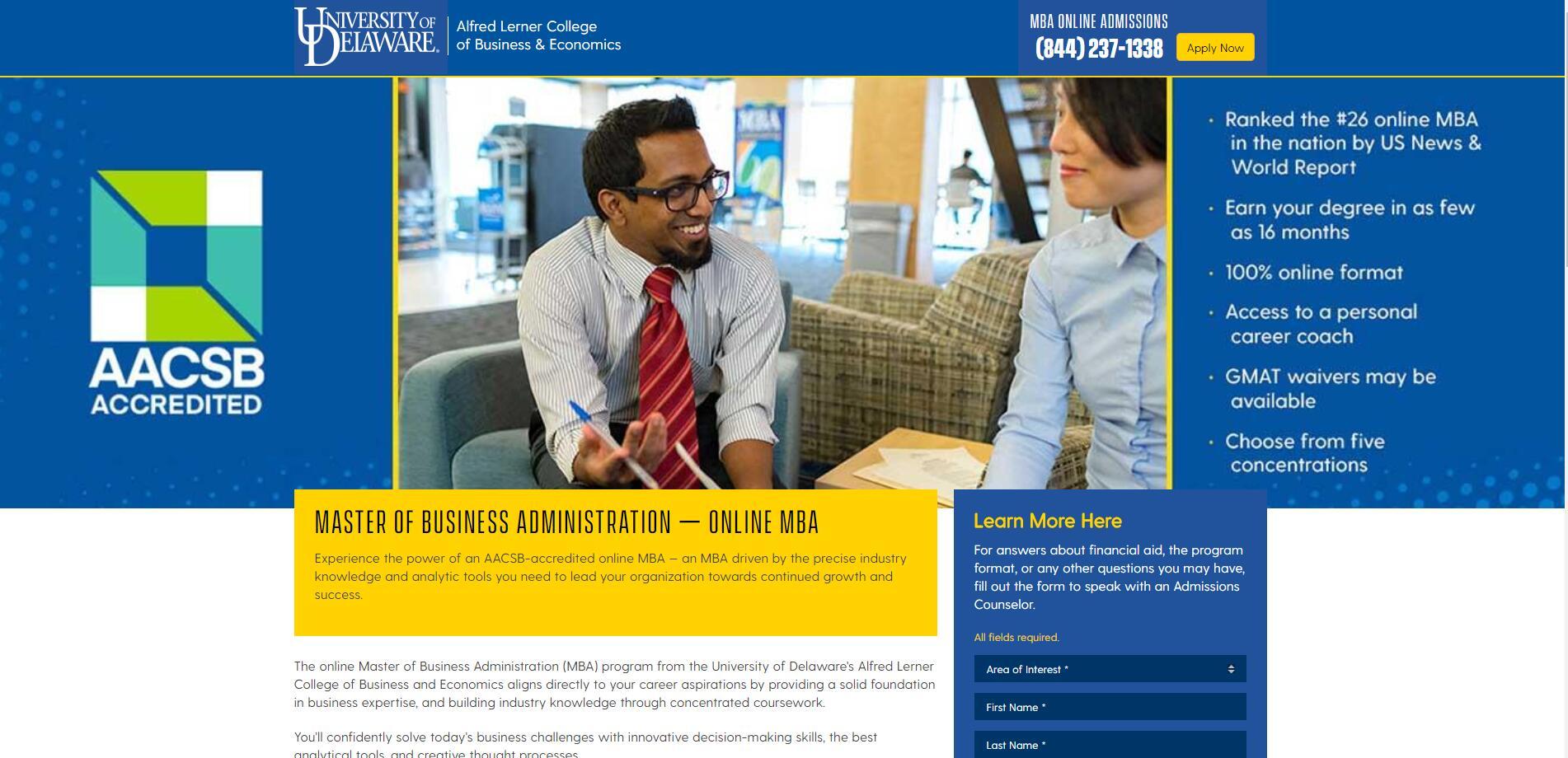 University of Delaware (Lerner) Part Time MBA