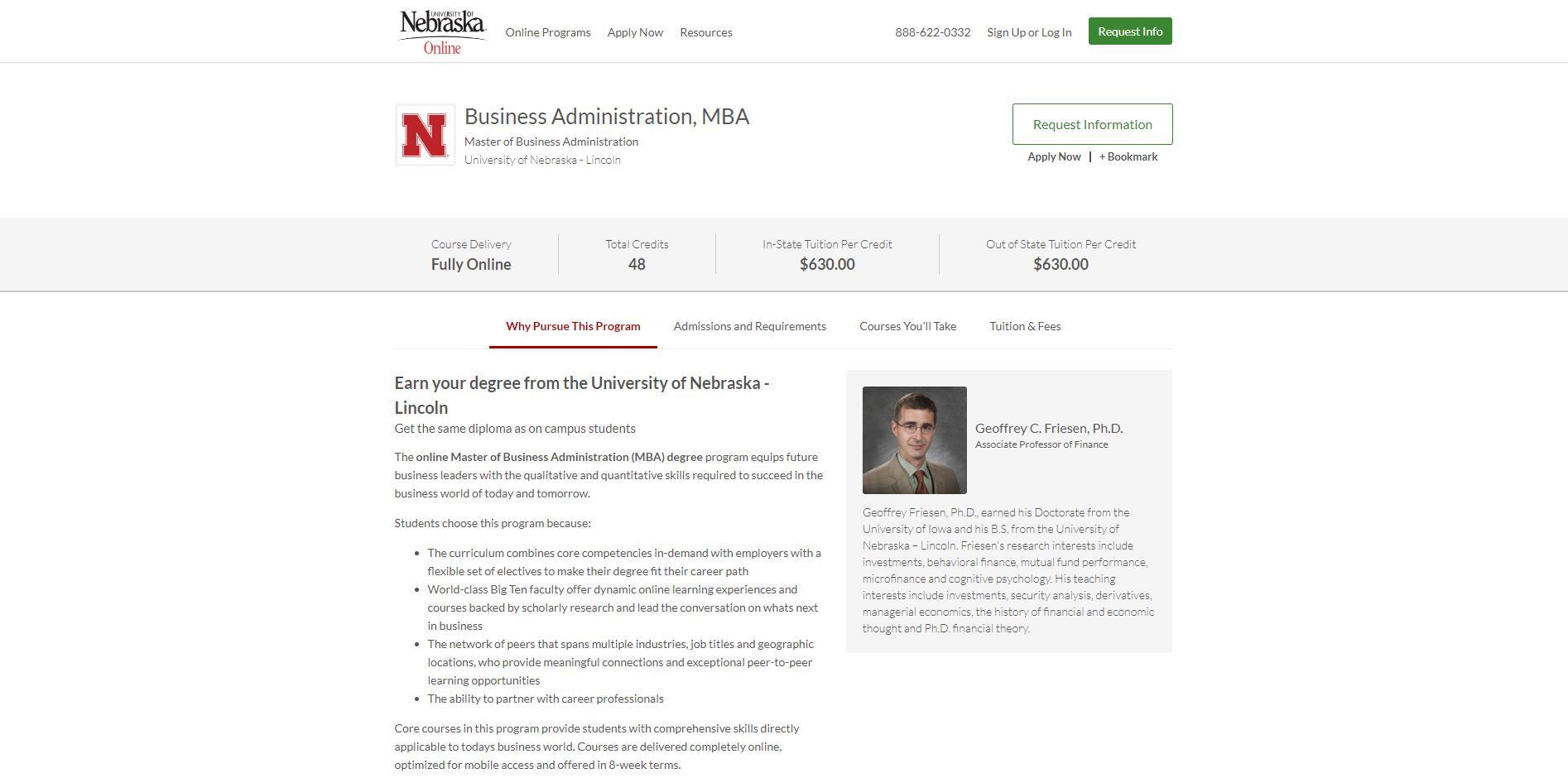 University of Nebraska--Lincoln Part Time MBA